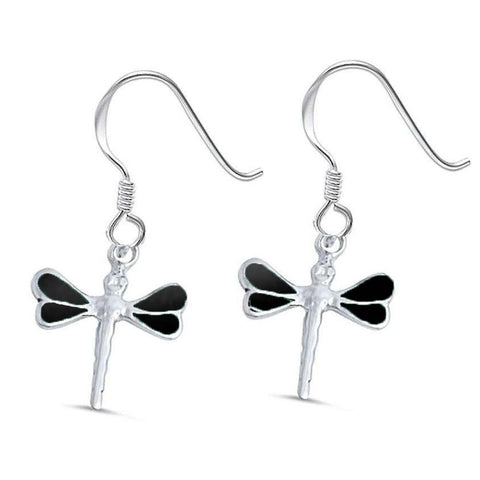 Black Onyx Dragonfly .925 Sterling Silver Earrings