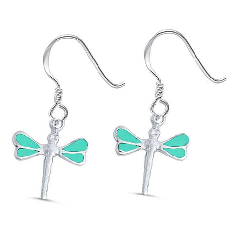 Turquoise Dragonfly .925 Sterling Silver Earrings