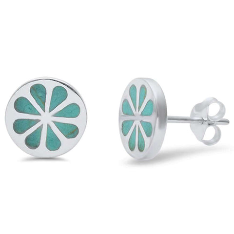Wholesale Silver- Green Turquoise Floral Design .925 Sterling Silver Earring