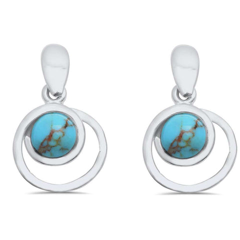 Wholesale Silver- Copper Turquoise Dangle Style .925 Sterling Silver Earring
