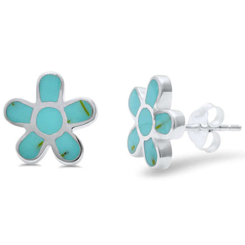 Wholesale Silver- Turquouise Flower Stud .925 Sterling Silver Earring