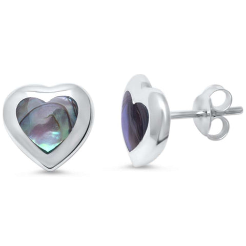 Simulated Abalone Heart Shaped   .925 Sterling Silver Earrings