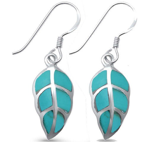 Turquoise Leaf .925 Sterling Silver Earrings