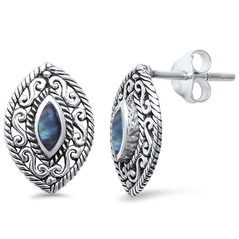 Abalone Marquise Filigree  .925 Sterling Silver Earrings