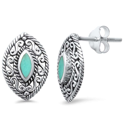 Turquoise Marquise Filigree  .925 Sterling Silver Earrings