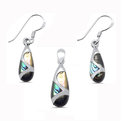 Abalone Teardrop Shape Dangle Earring & Pendant .925 Sterling Silver Set
