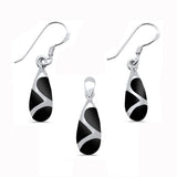 Black Onyx Teardrop Shape Dangle Earring & Pendant .925 Sterling Silver Set