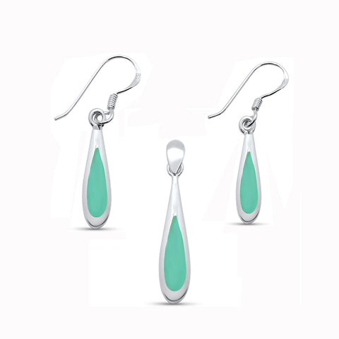 Turquoise Teardrop Shape Dangle Earring & Pendant .925 Sterling Silver Set