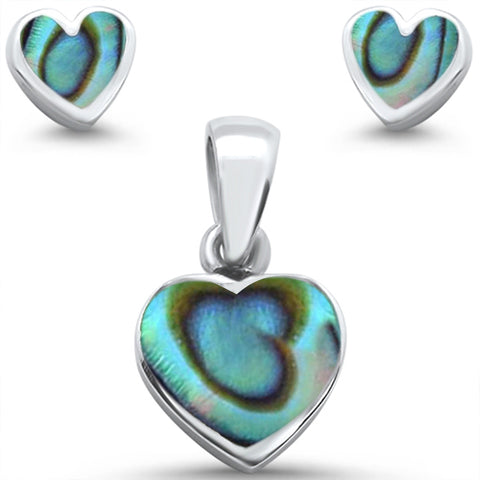 Heart Abalone Earring & Pendant .925 Sterling Silver Set
