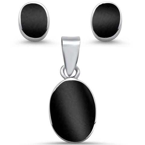 Oval Shape Black Onyx Earring & Pendant .925 Sterling Silver Set