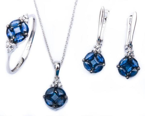 <span>GEMSTONE CLOSEOUT! </span> 14kt Gold Sapphire & Diamond Three Piece Ring, Earring & Pendant Necklace Set