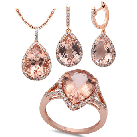 14.01ct F VS Morganite & Diamond 14kt Rose Gold Ring, Pendant & Earring Set
