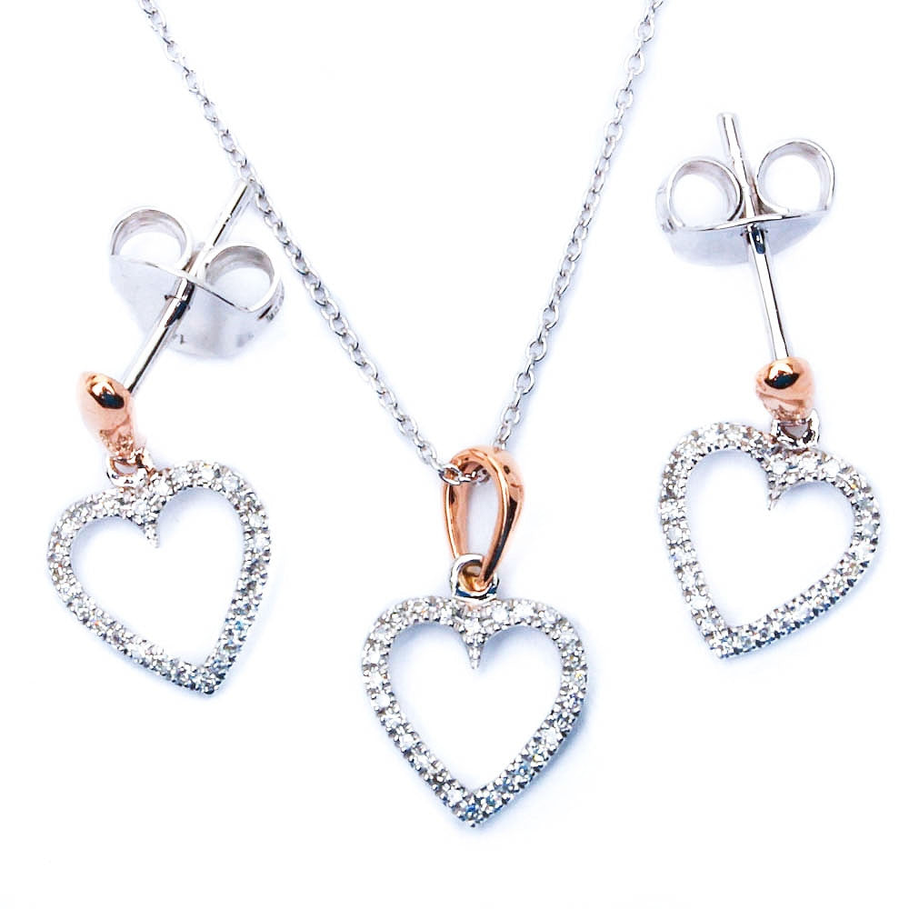14kt White & Yellow Gold Pave Set Heart Earring & Pendant 2 piece Set