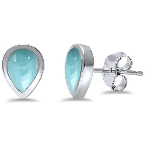 Pear Shape Natural Larimar .925 Sterling Silver Earrings