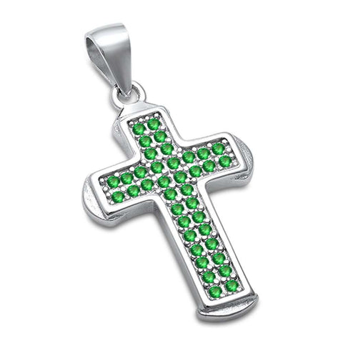 Green Emerald Cross .925 Sterling Silver Pendant