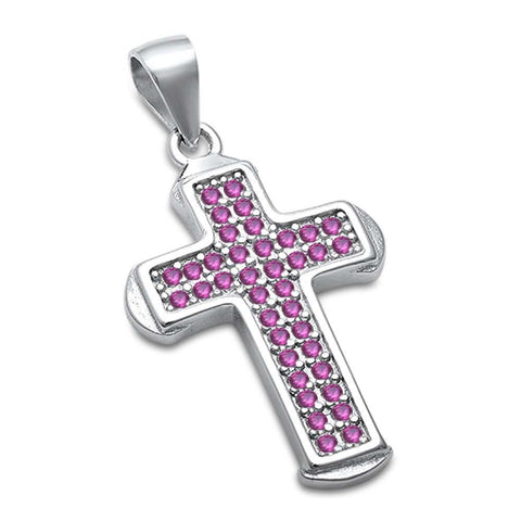 Red Ruby Cross .925 Sterling Silver Pendant