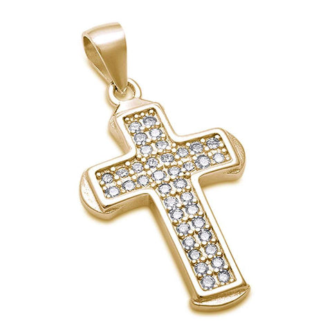 Yellow Gold Plated Cubic Zirconia Cross .925 Sterling Silver Pendant