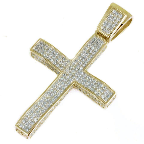 Yellow Gold Plated Heavy Hiphop Cross  .925 Sterling Silver Charm Pendant