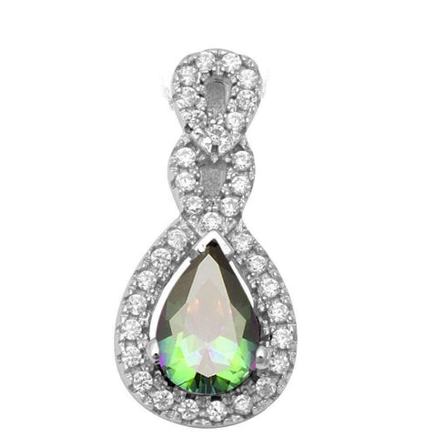 Round & Pear Shape Rainbow Topaz & Cz Fashion .925 Sterling Silver Pendant