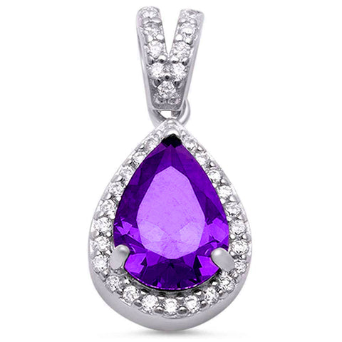 Pear Amethyst & Cubic Zirconia .925 Sterling Silver Pendant