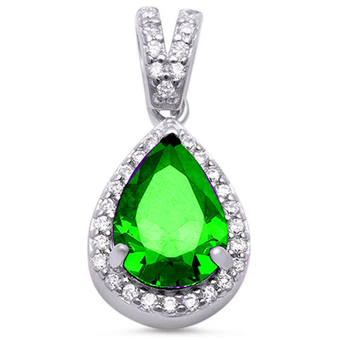 Pear Emerald & Cubic Zirconia .925 Sterling Silver Pendant