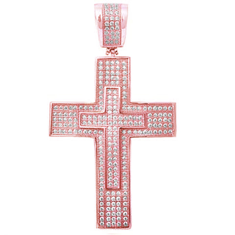 Rose Gold Plated Hiphop Style Micro Pave Cubic Zirconia Double Cross .925 Sterling Silver Pendant