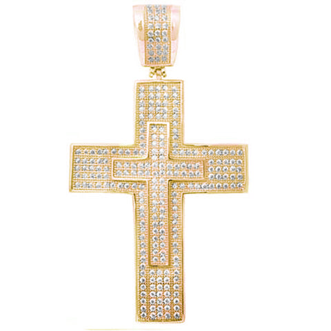 Yellow Gold Plated Hiphop Style Micro Pave Cubic Zirconia Double Cross .925 Sterling Silver Pendant