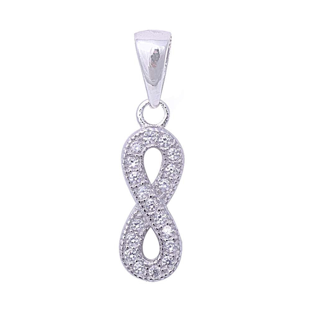 Micro Pave Cubic Zirconia Infinity Symbol .925 Sterling Silver Pendant