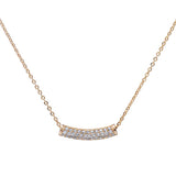 Yellow Gold Plated Micro Pave Cz Bar .925 Sterling Silver Pendant Necklace