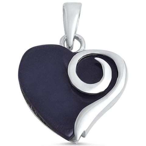 Black Onyx Heart .925 Sterling Silver Pendant