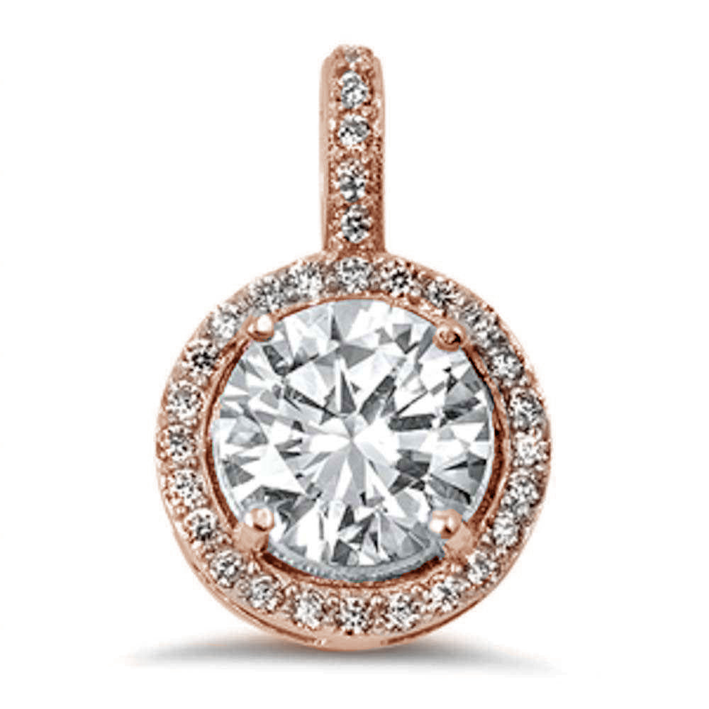 Halo Rose Gold Plated Round Cubic Zirconia .925 Sterling Silver Pendant