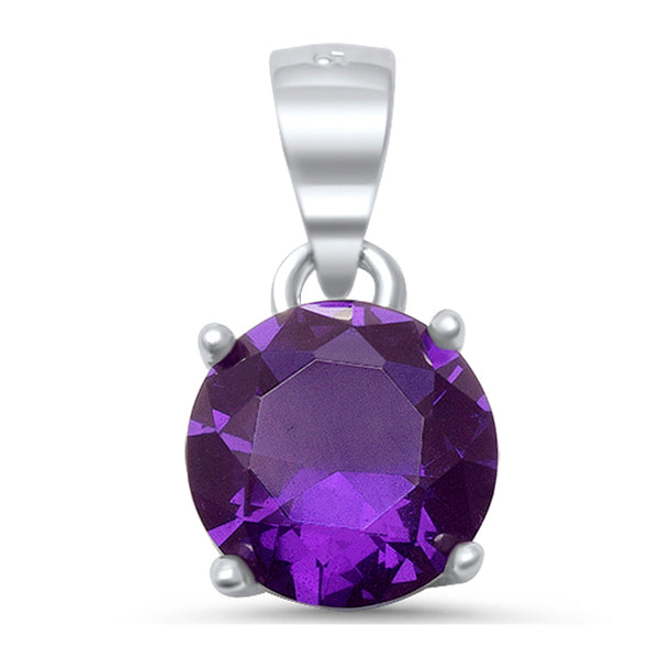 Round Faceted Amethyst .925 Sterling Silver Solitaire Pendant