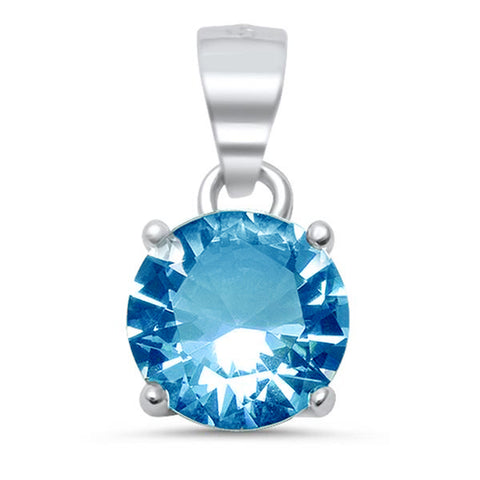 Round Blue Topaz .925 Sterling Silver Solitaire Pendant