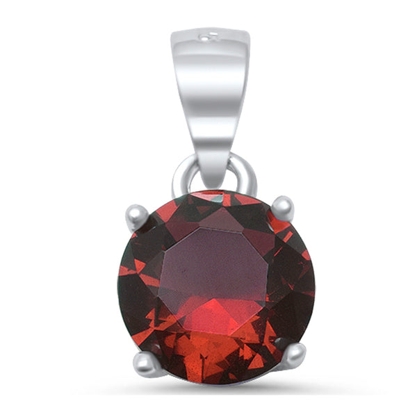 Round Red Garnet .925 Sterling Silver Solitaire Pendant