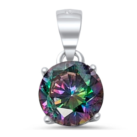 Round Rainbow Topaz Cubic Zirconia .925 Sterling Silver Solitaire Pendant