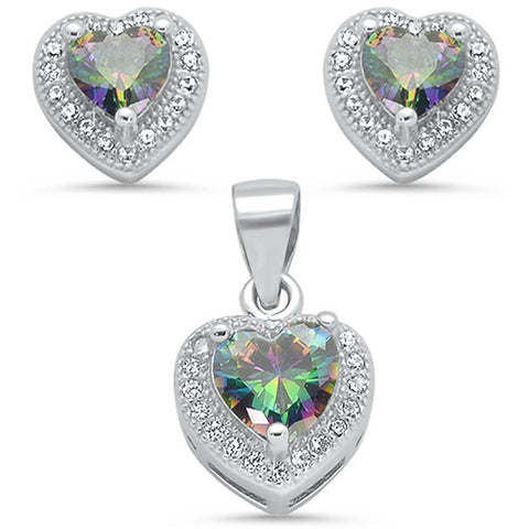 Rainbow Topaz & Pave Cubic Zirconia Heart Shape Earring & Pendant .925 Sterling Silver Set