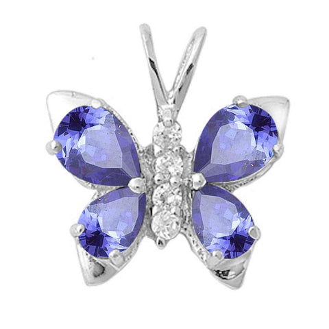 Tanzanite & Cz Butterfly .925 Sterling Silver Pendant