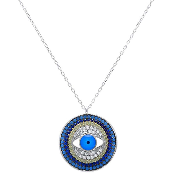 Turquoise, Sapphire, Cubic Zirconia .925 Sterling Silver Pendant Necklace