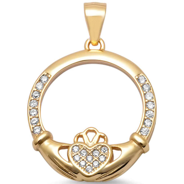 Yellow Gold Plated Micro Pave Cz Irish Claddagh .925 Sterling Silver Pendant