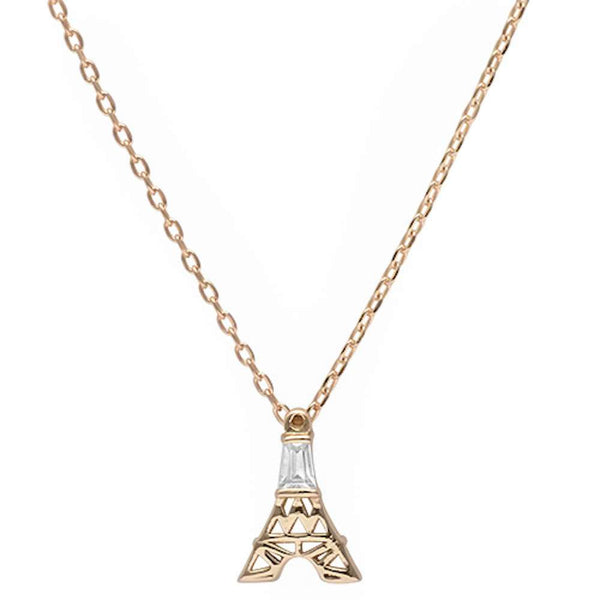 Yellow Gold Plated Cubic Zirconia Eiffel Tower .925 Sterling Silver Pendant Necklace