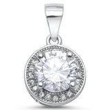 2.5ct Halo Style Fine Cubic Zirconia .925 Sterling Silver Pendant