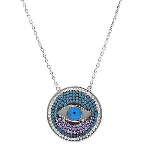 Nano Turquoise, Amethyst, & Cubic Zirconia Evil eye .925 Sterling Silver Pendant Necklace