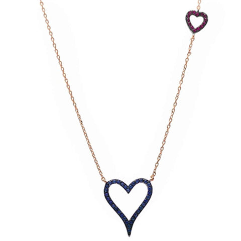 Rose Gold Blue Sapphire & Ruby Hearts .925 Sterling Silver Pendant Necklace