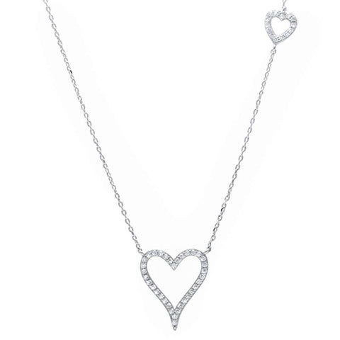 Cubic Zirconia Hearts .925 Sterling Silver Pendant Necklace
