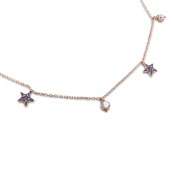 Rose Gold Plated Ruby Star & Cubic Zirconia .925 Sterling Silver Pendant Necklace