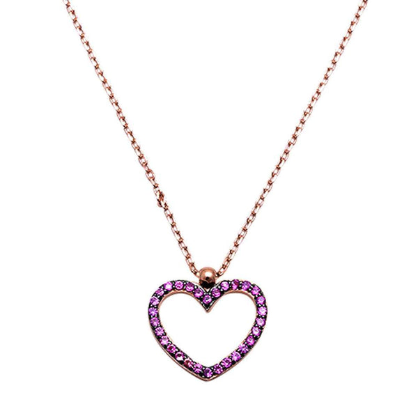Rose Gold Plated Ruby Heart  .925 Sterling Silver Pendant Necklace