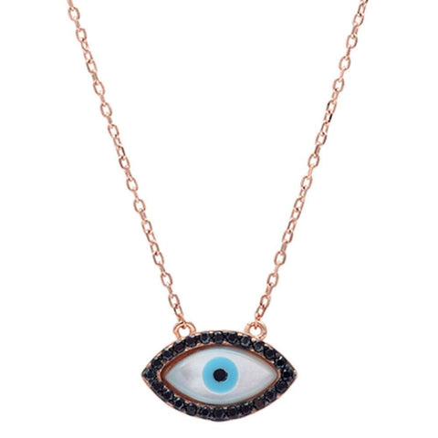 Rose Gold Plated Black Cz Evil Eye .925 Sterling Silver Pendant Necklace