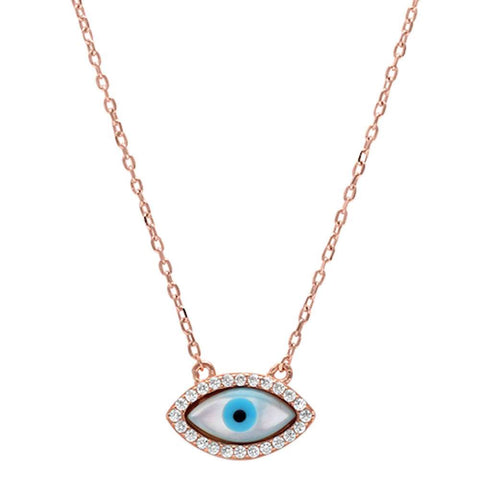 Rose Gold Plated Cz Evil Eye .925 Sterling Silver Pendant Necklace