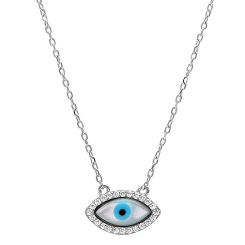 Cz Evil eye .925 Sterling Silver Pendant Necklace