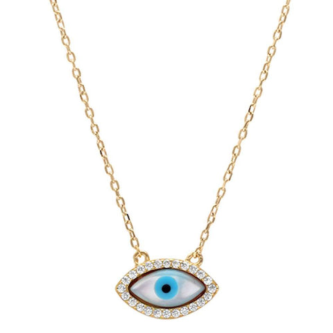 Yellow Gold Plated Cz Evil eye .925 Sterling Silver Pendant Necklace